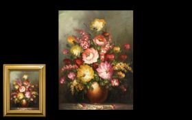 20th Century Oil on Board Still life of flowers in a dark brown pot. Unsigned, size15.5'' x 11.