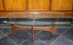 Coffee Table G Plan Style 1960s, glass top raised on teak cross stretcher with four feet.