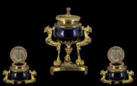French Antique Ormolu Bronze Ink Well on