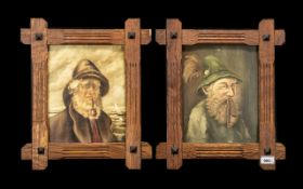 Pair of Oil Portraits on Canvas - depict