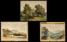 Three Small Watercolour Drawings, all un