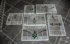 Six Vintage Leaded Windows with coloured