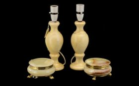 Two Onyx Table Lamp Bases along with two