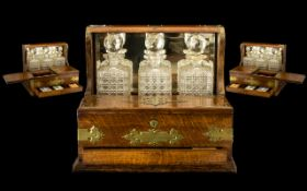 Fine Quality Oak Cased Antique Tantalus