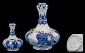 Chinese Blue & White Decorated Garlic Ne