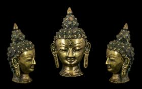 Small Indian Bronze Buddha Head with spi