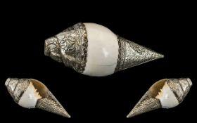 An Antique Tibetan Conche Shell Horn, Mo