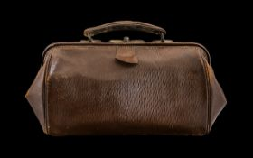 Victorian Leather Doctors Gladstone Bag.