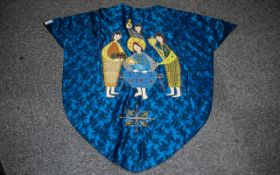 Fine Quality Embroidered Blue Silk Vestm