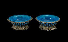 Pair of Antique Opaline Glass Salts, Hou