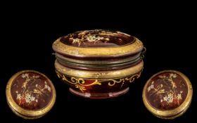Ruby Red Glass, Round Lidded Trinket Box