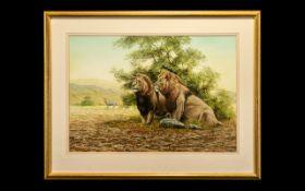 Peter Jepson Original Painting of 2 Lion