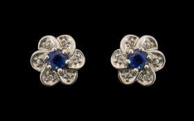 18ct White Gold Diamond & Sapphire Stud