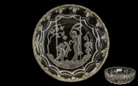 French Art Glass Bowl with acid moulded