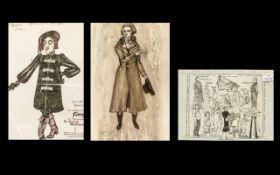 Three Cartoon Theatrical Ink Drawings He