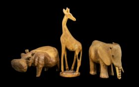 Three Pieces of Wooden Animal Figures fr