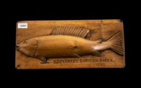 German Fishing Trophy Carved Wooden Fish