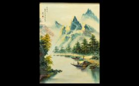 Chinese Oil Painting on Canvas - depicti