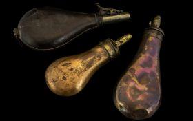 3 Gun Powder - Pellet Flasks. 1 Copper,