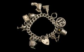 Antique Period Silver Bracelet Loaded with ( 11 ) Excellent Silver Charms.