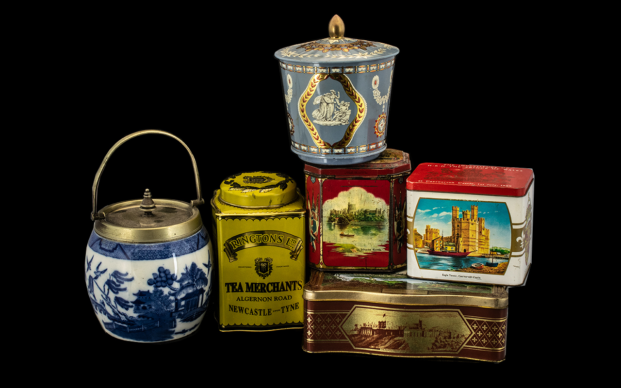 Lot 1401 - Collection of ( 5 ) Advert Vintage Tins for Tea and Biscuits with a Pottery Blue and White Biscuit