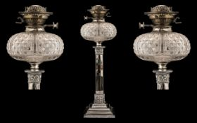 Edwardian Fine Quality Oil Lamp with a Cut Glass Font Bowl with Burner, Makers Hinks Duplex,
