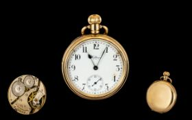American Watch Company Waltham Gold Plated Keyless Open Faced Pocket Watch. Circa 1920. Features