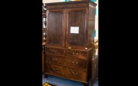 Georgian Mahogany Linen Press with a cupboard top, with sliding shelves to the interior, with a