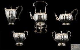 Elizabeth II Wonderful Quality Pumpkin Form Five Piece Silver Tea And Coffee Service Hallmark,