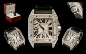 Cartier - Santos Stunning 100XL Acier Automatic Unisex Steel and Diamond Set Wrist Watch.