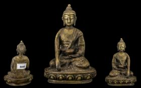 An Antique Oriental Bronze Seated Buddha Figure on a Lotus Throne Base, Hollow Casting.