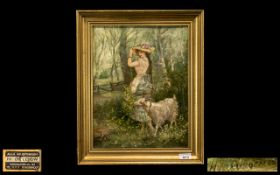 French Oil on Canvas of a girl in a forest setting with a goat, the girl adjusting her bonnet in the
