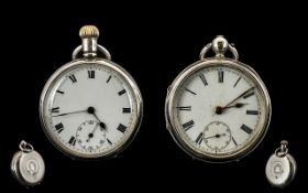 Two Silver Open Faced Pocket Watches Both With White Enamelled Dials,