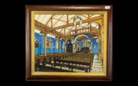 Arts and Crafts Finely Executed Water Colour Drawing of A Church Interior in the Arts and Crafts