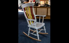 Painted Beech Wood Lancashire Splat Backed Rocking Chair.
