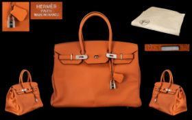 Hermes - Paris Birkin 35 Orange Swift Leather Bag.