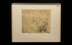 Rowland Suddaby ( 1912 - 1973 ) Still Life Pencil. 9 x 11.1/4 Inches, From a Sketch Book.