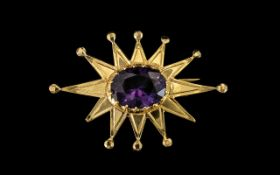 High Carat Gold Starburst Brooch Set With A Colour Changing Aqua To Purple Faceted Stone, 44 x 30mm,