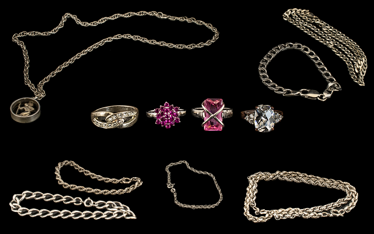 Lot 231 - A Small Collection of Sterling Silver Jewellery, All Fully Hallmarked for Silver,