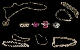 A Small Collection of Sterling Silver Jewellery, All Fully Hallmarked for Silver,
