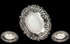 Antique Period Nice Quality - Ornate Silver Footed Fruit Bowl with Ornate Border.