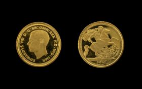 London Mint - Edward VIII Restrike 9ct Gold Half Sovereign - Dated 1937. Mint Condition. Purity 9.