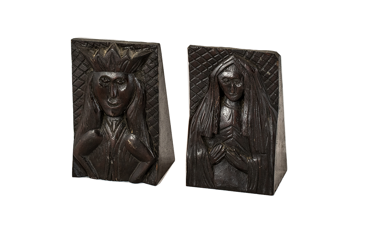 Lot 1397 - Pair Antique Carved Wood Corbels depicting a King wearing a Crown and a lady in gown and