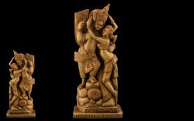 Large Carved Wooden Far Eastern Figures of An Amorous Couple of Classical Pose, Finely Detailed.
