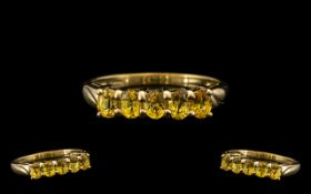 Ladies - 9ct Gold Attractive 5 Stone Citrine Set Dress Ring with Full Hallmark.