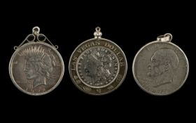 Three Silver Dollars To Include A Las Vegas Dollar Dated 1878,