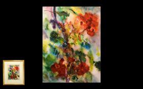 Tony Porter Contemporary Still Life. Entitled 'Scarlet Geraniums'. Watercolour, size 15'' x 11.