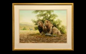 Peter Jepson Original Painting of 2 Lions and Zebra In Background, Signed Lower Left Jepson 90,