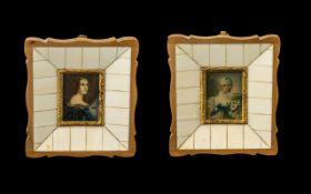 Pair of Italian Ivory Framed Miniature Paintings of Elegant Ladies In Fine Apparel,