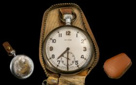 WW2 Cyma Military Pocket Watch White Enamelled Dial, Arabic Numerals With Subsidiary Seconds,